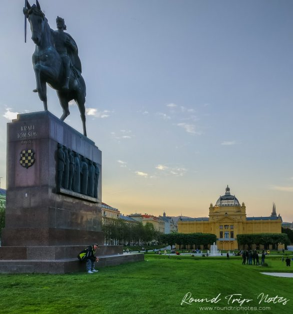 Statue of the King Tomislav Riding a Horse and Art Pavilion